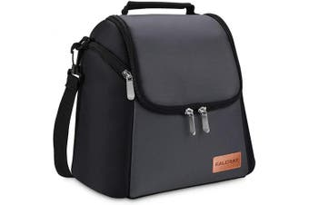 (Black with Dark Grey) - BALORAY Adult Lunch Box Leak-proof Insulated Lunch Bag Large Cooler Tote Bag for Men Women with Strap Cooler Lunch Bag for Office Work Picnic Hiking Beach(Black) (Black with Dark Grey)