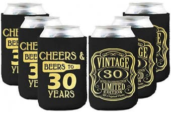 Neoprene Beer Can Coozies- 30 Years Birthday Can cooler, 30th Birthday Gifts Coozies, Birthday Party Decorations - Set of 6
