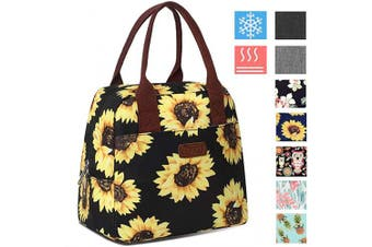 (Sunflower/Black) - DIIG Lunch Box for Women, Insulated Lunch Bags for Women, Large Cooler Tote For Work, Floral Reusable Snack Bag with Pocket, Sunflower Printing/Grey/Black/White(Sunflower/Black)