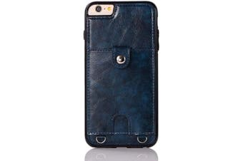 (Blue) - Jaorty PU Leather Wallet Case for iPhone 6 Plus/6S Plus Necklace Lanyard Case Cover with Card Holder Adjustable Detachable Anti-Lost Neck Strap for 14cm Apple iPhone 6 Plus,iPhone 6S Plus,Blue