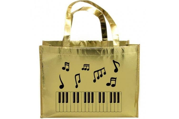 Metallic Gold Tote Bag Music Notes & Keyboard