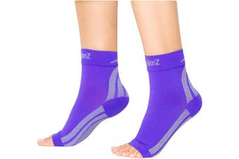 (Small, Purple) - CompressionZ Plantar Fasciitis Socks - Compression Foot Sleeves - Ankle Brace Arch Support - Pain Relief for Heel Spurs, Edoema, Achilles Tendonitis