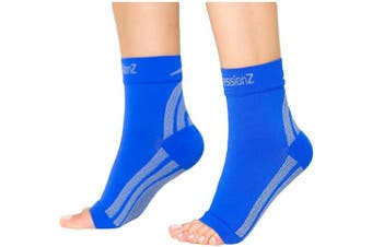 (Small, Blue) - CompressionZ Plantar Fasciitis Socks - Compression Foot Sleeves - Ankle Brace Arch Support - Pain Relief for Heel Spurs, Edoema, Achilles Tendonitis