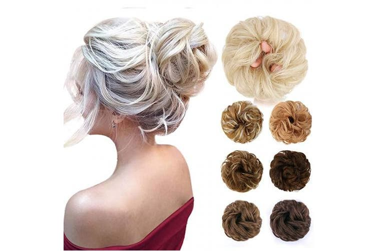 (Curly Hair Bun, 12#(Light reddish brown)) - HMD Messy Hair Bun Hair Piece Synthetic Messy Curly Hair Scrunchies Hair Bun Extensions for Women and Girls Messy Donut Updo Chignons Hair Piece for Wedding or Daily wear