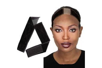 (Black) - Lace Wig Grip for Women Anromeda Adjustable Soft Non Slip Swiss Lace Hair Headband Protection Baby Hair for Lace Wigs with 1 Comb Gift (Black)