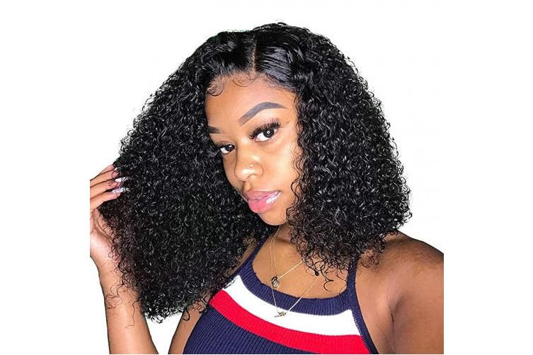 (25cm ) - ALI GRACE Wet And Wavy Bob Lace Front Wigs Short Human Hair Kinky Hair 13x 4 150% Density Pre Plucked With Baby Hair Natural Hairline Brazilian Virgin 9A Hair For Black Women 25cm