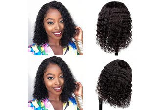 (30cm ) - Brazilian Virgin Human Hair Wigs Deep Wave Lace Front Wigs Human Hair, 130% Density Wet and Wave Wigs for Black Women Lace Closure Wigs Natural Colour