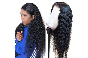 (36cm ) - Deep Wave Lace Front Wigs Human Hair, Brazilian Virgin Human Hair 4x4 Lace Closure Wigs, Deep Curly Human Hair Wigs with Baby Hair Natural Hairline Wigs for Black Women