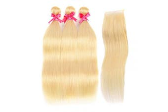 (14 16 18 +12, 613 straight bundles +Closure) - Brochan Platinum Blonde Human Hair 3 Bundles with Lace Closure Blonde Straight Bundles with Closure Brazilian Human Hair Wave Remy Weft with Closure 613 Human Hair Weaving(14/16/18+12)