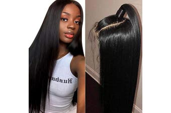 (41cm , Straight Wig) - Beauhair Lace Front Wigs Human Hair with Baby Hair Pre Plucked Bleached Knots Remy Brazilian Straight Lace Wigs for Black Women Natural Colour 41cm