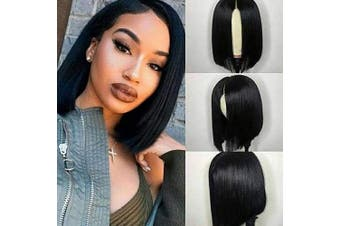 (20cm , Straight Wig) - Beauhair Brazilian Virgin 13x 4 Lace Front Wigs Straight Human Hair Wigs for Black Women 150% Density Natural Black Colour 20cm