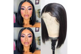 (25cm , Straight Wig) - Beauhair Short Bob Lace Front Wigs Human Hair 13x 4 Short Bob Wig Brazilian Remy Hair Lace Front Wigs Straight Human Hair Bob Wigs 150% Density 25cm Natural Colour