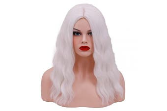 (White) - BUFASHION 50cm Long Wavy Curly Light Brown Synthetic Wig for Women Girls Cosplay Wig Halloween Costume Wig with Wig Cap (White)