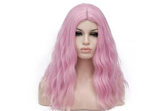 (Light Pink) - BUFASHION 50cm Long Wavy Curly Light Pink Synthetic Wig for Women Girls Cosplay Wig Halloween Costume Wig with Wig Cap