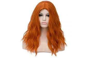 (Orange) - BUFASHION 50cm Long Wavy Curly Orange Synthetic Wig for Women Girls Cosplay Wig Halloween Costume Wig with Wig Cap