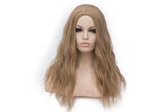 (Light brown) - BUFASHION 50cm Long Wavy Curly Light Brown Synthetic Wig for Women Girls Cosplay Wig Halloween Costume Wig with Wig Cap