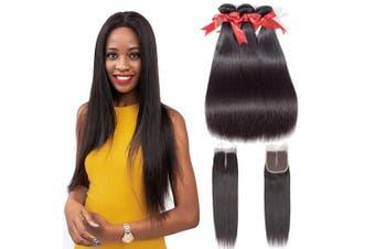 (20 22 24+18closure, Middle Part) - Beauhair Straight Hair Bundles with Closure Middle Part(20 22 24+18closure) Brazilian Straight Human Hair 3 Bundles with Middle Part Lace Closure Human Hair Extensions Natural Black Colour