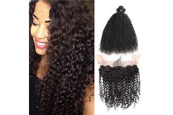 (14 16 18 +12 frontal, Natural Color) - Alimice Hair Curly Brazilian Human Hair Bundles with 13X4 Lace Frontal Grade 9A Virgin Unprocessed Brazilian Curly Hair 3 Bundles with Closure Free Part Natural Colour (14 16 18+12 13×4 frontal)