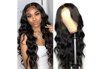 (46cm  wigs, Natural Color) - ALIMICE Body wave Lace Frontal Wigs Brazilian Virgin Human Hair Glueless wigs 13x 4 Lace Front Wigs Pre Plucked with Baby hair … (46cm wigs, Natural Colour)