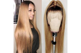 (36cm , #ST-Black to Strawberry Blonde) - Human Hair Straight Ombre Lace Wig 100% Real Brazilian Dark Roots Blonde Lace Front Wigs 1B27 Colour Thick 150% Density Wig for Black Women 36cm