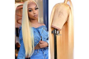 613 Blonde Wig Human Hair Pre Plucked Hairline Full Lace Wigs Silky Straight 150% Density Full End Swiss Lace Wig with Baby Hair 36cm