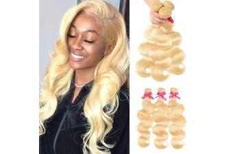 (20 22 24, 613 bundles) - 613 Blonde Body Wave Hair 3 Bundles Body Wave Bleach Blond Brazilian Human Hair Weave Double Weft Hair Extensions Extensions (20 22 60cm 300g)