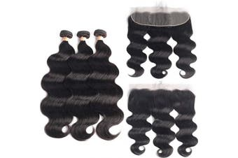 (16/18/20+41cm , Bundles with Frontal) - Beaudiva Hair Body Wave Bundles with Frontal (16 18 20+16Frontal) 13×4 Lace Frontal Unprocessed 7A Brazilian Body Wave Human Hair Double Weft with Lace Frontal