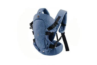 (Denim Blue) - caiyuangg Baby Convertible Carrier, All Carry Position Newborn to Toddlers Ergonomic Carrier with Soft Breathable Air Mesh and All Adjustable Buckles (Denim Blue)