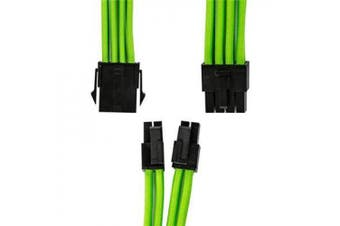 GGPC Braided Cable CPU 4+4 Pin Power Extension Cable for Motherbaord (8Pin, Green)(40cm)