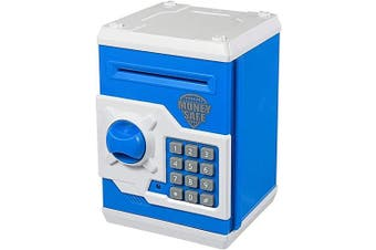 (Blue White) - Yoego Kids Money Bank, Electronic Piggy Banks, Great Gift Toy for Kids Children, Auto Scroll Paper Money Saving Box Password Coin Bank,Perfect Toy Gifts for Boys Girls (Blue White)
