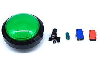 (Green) - Arcity 100mm Arcade Push Button LED Dome Illuminated with Microswitch for Jamma MAME Pop'n Music Game Machine Cabinet Green Durable New