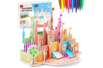 Amor 3D Colouring Castle Puzzle Set Jigsaw Puzzles for Kids for Birthday Present, Thanksgiving Gift, New Year Gift