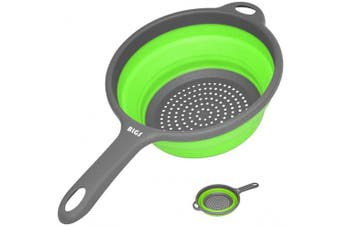 (Green) - Collapsible Colander,Kitchen Strainer with Handles,Space-Saver Folding Silicone Strainers and Colanders,1.9l Round Collander for Draining Pasta,Vegetable/Fruits,Dish washer-Safe,BPA Free (Green)