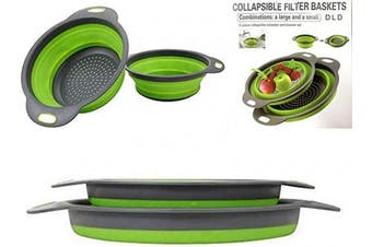(Green) - Collapsible colander, 2 foldable kits, DLD Food Grade Silicone Kitchen Strainer Space-saving foldable filter colander, sizes 20cm -1.9ls, 24cm -1.9ls. (Green)