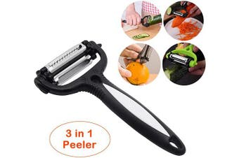 (Black) - Vegetable Fruit Peeler - 3 in 1 Stainless Steel Slicer Blades Veggie Potato Cabbage Carrot Orange Apple Peelers(Black)