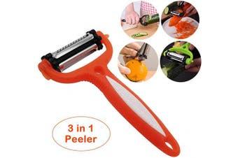 (Orange) - Vegetable Fruit Peeler - 3 in 1 Stainless Steel Slicer Blades Veggie Potato Cabbage Carrot Orange Apple Peelers(Orange)