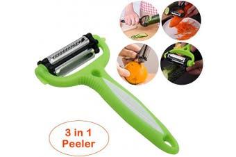 (Green) - Vegetable Fruit Peeler - 3 in 1 Stainless Steel Slicer Blades Veggie Potato Cabbage Carrot Orange Apple Peelers(Green)