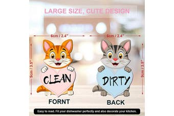 (Cat 2) - Sylfairy 8.9cm Dishwasher Magnet Clean Dirty Sign, Strongest Magnet Sign Double Sided Flip Indicator Kitchen Label for Home Organisation, Funny Unicorn Cat Clean Dirty Dishwasher Magnet (Cat 2)