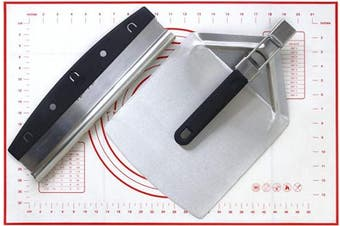 (Cutter, Peel & Mat Set) - Chequered Chef Pizza Cutter, Pizza Peel and Dough Mat Set - Stainless Steel Rocker Blade Pizza Cutter With Stainless Steel Pizza Peel/Paddle And Silicone Pastry Mat
