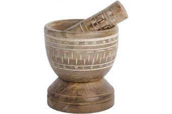"(4"" High Etched Wood) - Palais Essentials Mortier pilon Mortar and pestle set (10cm High Etched Wood)"