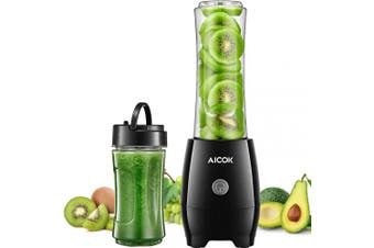 (600ml) - Aicok Personal Blender for Shakes and Smoothies with 2 BPA Free Portable Travel Cups and Spout Lids, 300W Smoothies Blenders for Milkshake, Fruit Vegetables Drinks and Baby Food