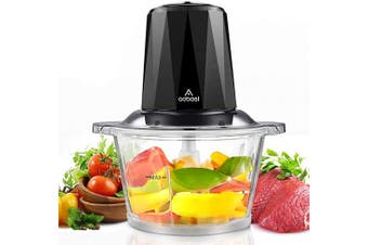 (TRANSPARENT) - Electric Food Chopper,7-Cup Meat Chopper by Aobosi, 1.8L BPA-Free Glass Bowl, Braking Function, Fast & Slow Speeds Control, 4 Sharp Blades,300W, Mini food processor for Meat,Vegetables, Fruits and Nuts