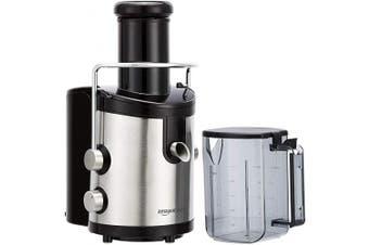 (Stainless Steel) - AmazonBasics Wide-Mouth, 2-Speed Centrifugal Juicer with Juice Jug and Pulp Container, Stainless Steel