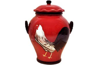 Tuscany Roamer Rooster Hand Painted Cookie Jar, By A.C.K. Trading Co.