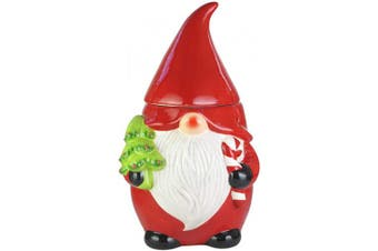 (Red/White) - American Atelier Gnome Canister- Ceramic Jar, Holiday Design w/Airtight Lid for Cookies, Candy, Coffee, Flour, Sugar, Rice, Pasta, Cereal & More, 26cm , Red/White