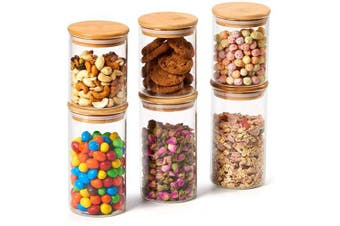 (Set of 6, 450ml / 700ml) - EZOWare 6 Piece Glass Jars Air Tight Canister Kitchen Food Storage Container Set with Natural Bamboo Lids for Candy, Cookie, Rice, Sugar, Flour, Pasta, Nuts - 450ml / 710ml