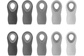 (Gray) - Cook with Colour 10 Pc Bag Clips with Magnet, Food Clips, Chip Clips, Bag Clips for Food Storage with Air Tight Seal Grip for Bread Bags, Snack Bags and Food Bags (Ombre, Grey)