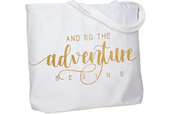(Adventure Gold) - ElegantPark Bachelorette Gifts And so Adventure Begins Bride Bag Bride Gifts for Wedding Party Honeymoon Farewell Gifts Personalised Tote with Pocket White with Gold Glitter