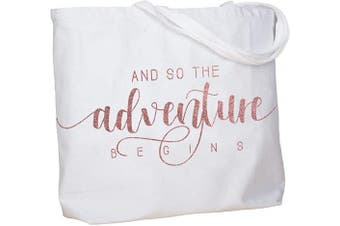 (Adventure Rose Gold) - ElegantPark And So the Adventure Begins Wedding Bride Tote Bachelorette Party Gift Personalised Travel Shoulder Bag Canvas White with Rose Gold Glitter