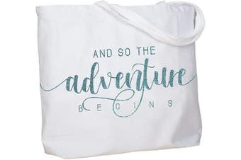 (Adventure Aqua) - ElegantPark Bride Gifts Bridal Shower Gifts for Bride Bag And so the Adventure Begins Wedding Engagement Bachelorette Party Gifts Personalised Bag with Pocket White with Aqua Glitter
